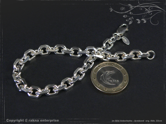 Anchor Chain Bracelet 925 sterling silver 6,5mm solid