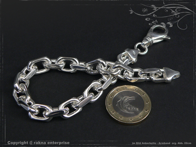 Anchor Chain Bracelet 925 sterling silver 8,0mm solid
