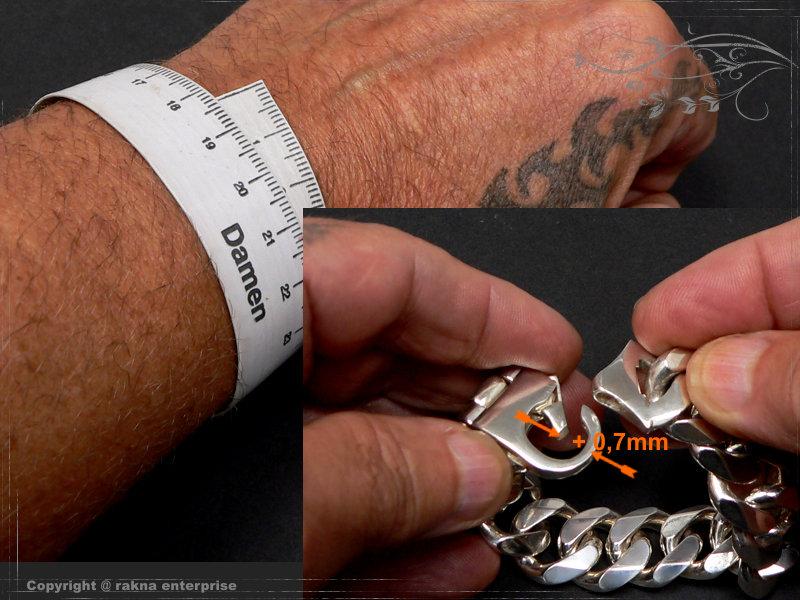 Panzerarmband Silberkette-Armband Länge berechnen