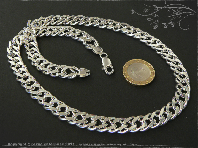 Twin curb chains 925 sterling silver width 11mm  massiv