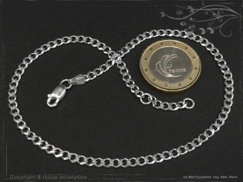Fußkette Panzerkette B3.0L27 massiv 925 Sterling Silber