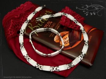Design Armband Keramik-Edelstahl weiß 21cm massiv Keramik - Edelstahl