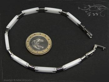 Design Armband Keramik-Edelstahl weiß 23cm massiv Keramik - Edelstahl