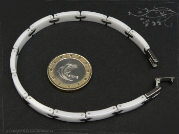 Design Armband Keramik-Edelstahl weiß 22.5cm massiv Keramik - Edelstahl