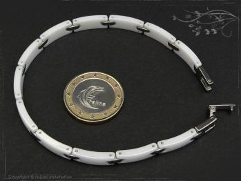 Design Armband Keramik-Edelstahl weiß 17.5cm massiv Keramik - Edelstahl