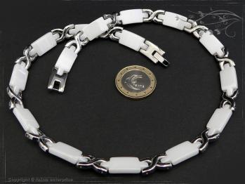 Collier Halskette Keramik- Edelstahl weiß 50cm massiv Keramik - Edelstahl