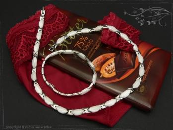 Collier Halskette Keramik- Edelstahl weiß 45cm massiv Keramik - Edelstahl