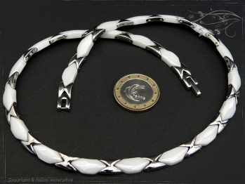 Collier Halskette Keramik- Edelstahl weiß 42cm massiv Keramik - Edelstahl