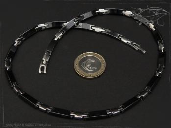 Collier Halskette Keramik- Edelstahl schwarz 42cm massiv Keramik - Edelstahl