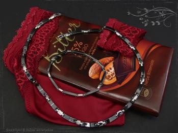 Collier Halskette Keramik- Edelstahl schwarz 45cm massiv Keramik - Edelstahl