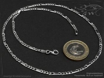 Figarokette  B2.6L45 rhodiniert Silber 925 Sterling massiv