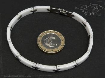 Design Armband Keramik-Edelstahl weiß 19cm massiv Keramik - Edelstahl