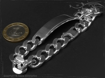Curb Chain ID-Bracelet  B10.5L18 solid 925 Sterling Silver