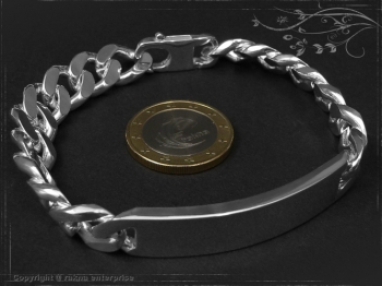 Curb Chain ID-Bracelet  B10.5L19 solid 925 Sterling Silver