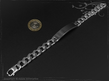 Curb Chain ID-Bracelet  B10.5L20 solid 925 Sterling Silver