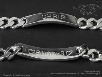 Curb Chain ID-Bracelet  B10.5L22 solid 925 Sterling Silver