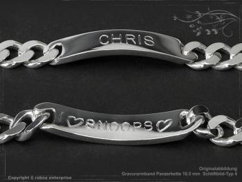 ID Panzerarmband Gravur-Platte B10.5L22 massiv 925 Sterling Silber