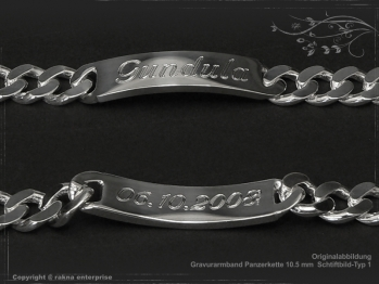 Curb Chain ID-Bracelet  B10.5L23 solid 925 Sterling Silver