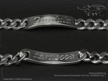 ID Panzerarmband Gravur-Platte B10.5L23 massiv 925 Sterling Silber