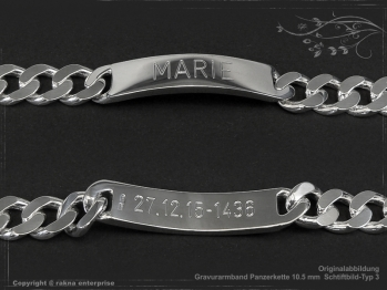 ID Panzerarmband Gravur-Platte B10.5L25 massiv 925 Sterling Silber