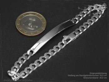 ID Panzerarmband Gravur-Platte B5.5L18 Silber 925 Sterling massiv