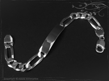 Figaro Chain ID-Bracelet  B10.0L19 solid 925 Sterling Silver