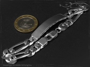 Figaro Chain ID-Bracelet  B8.0L20 solid 925 Sterling Silver