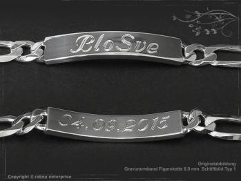 ID Figaroarmband Gravur-Platte B8.0L23 massiv 925 Sterling Silber