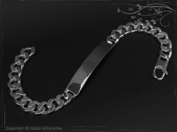 ID Panzerarmband Gravur-Platte B8.0L17 Silber 925 Sterling massiv