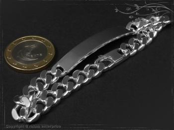 ID Panzerarmband Gravur-Platte B8.0L18 massiv 925 Sterling Silber