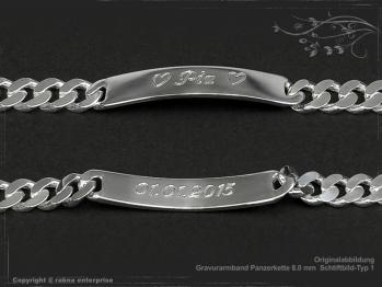 ID Panzerarmband Gravur-Platte B8.0L25 massiv 925 Sterling Silber