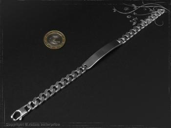 ID Panzerarmband Gravur-Platte B8.0L19 massiv 925 Sterling Silber