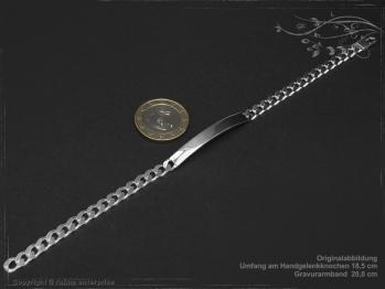 ID Panzerarmband Gravur-Platte B5.5L20 Silber 925 Sterling massiv