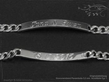 ID Panzerarmband Gravur-Platte B5.5L22 Silber 925 Sterling massiv