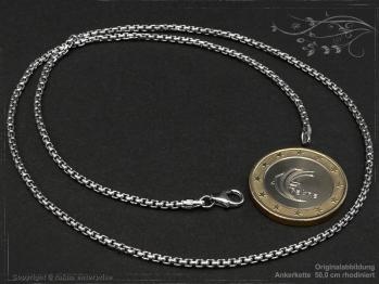 Ankerkette B2.0L45 rhodiniert massiv 925 Sterling Silber
