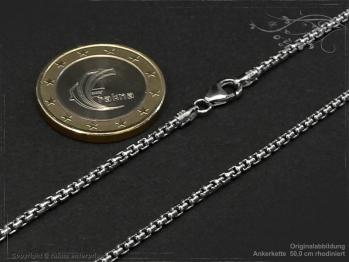 Ankerkette B2.0L50 rhodiniert massiv 925 Sterling Silber
