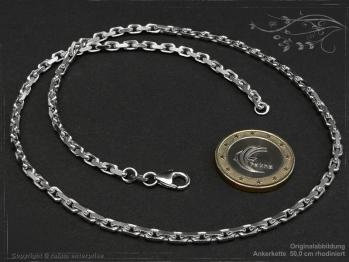 Ankerkette B3.0L45 rhodiniert massiv 925 Sterling Silber