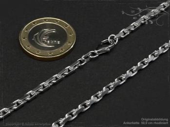 Ankerkette B3.0L50 rhodiniert massiv 925 Sterling Silber