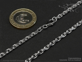 Ankerkette B3.0L65 rhodiniert massiv 925 Sterling Silber