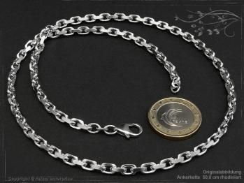 Ankerkette B4.0L45 rhodiniert massiv 925 Sterling Silber