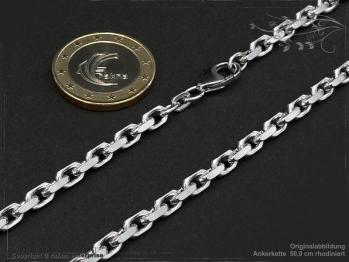 Ankerkette B4.0L50 rhodiniert massiv 925 Sterling Silber