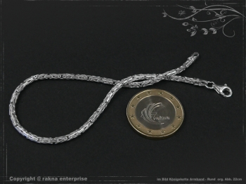 Königskette Armband Rund B2.3L24 massiv 925 Sterling Silber