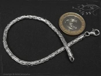Königskette Armband Rund B3.0L25 massiv 925 Sterling Silber