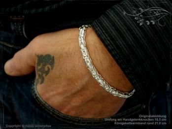 Königskette Armband Rund B6.0L20 cm massiv 925 Sterling Silber