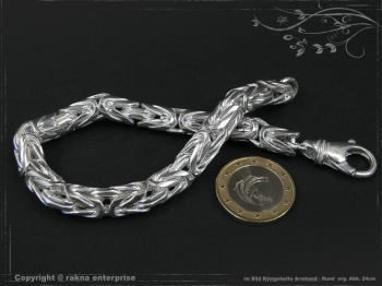 Königskette Armband Rund B8.0L22 cm massiv 925 Sterling Silber