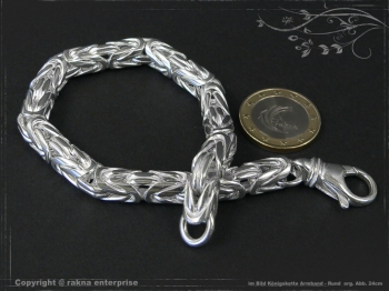Königskette Armband Rund B8.0L20 cm massiv 925 Sterling Silber