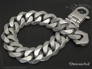 Panzerarmband B14L24 Stonewashed mattiert massiv 925 Sterling Silber