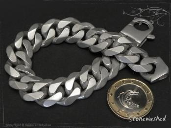 Panzerarmband B14L22 Stonewashed mattiert massiv 925 Sterling Silber