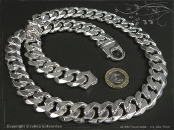 Panzerkette Extra Breit B19.0L50 massiv 925 Sterling Silber