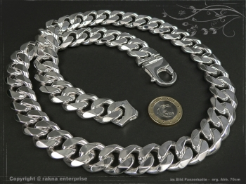 Panzerkette Extra Breit B19.0L90 massiv 925 Sterling Silber